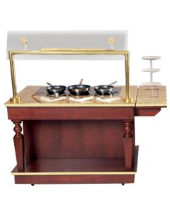 """Bon Chef 50170 48"""" x 32"""" x 34"""" Wood Cooking Cart with 2 Induction Warmers - 110V"""