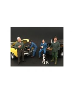 Mechanics, Customer and a Dog 5 piece Figurine Set for 1/18 Scale Models by American Diorama