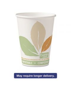 Bare By Solo Eco-forward Pla Paper Hot Cups, 12oz,leaf Design,50/bag,20 Bags/ct