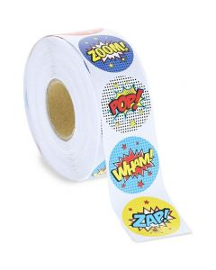 Blue Panda 1000-Count Comic Hero Round Circle Stickers Roll 1.5 in for Kids Party Favors, Scrapbook