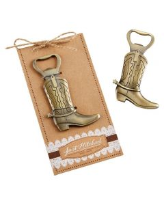 """12ct """"Just Hitched"""" Cowboy Boot Bottle Opener"""