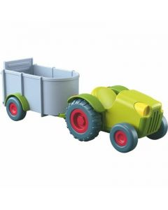 HABA Little Friends Tractor and Trailer - 2 Piece Farm Play Set with Movable Hatch