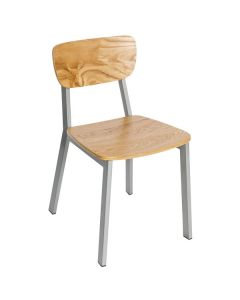 BFM JS10CNTV-NTPL Hamilton Gray Steel Side Chair with Natural Ash Wooden Back and Seat - Platinum Finish