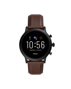Fossil Gen 5 Smartwatch Carlyle HR 44mm - Black with Brown Leather