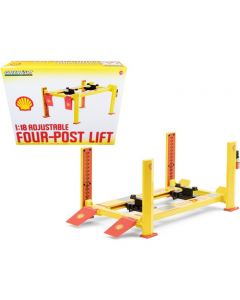 """Adjustable Four Post Lift """"Shell Oil"""" #2 for 1/18 Scale Diecast Model Cars by Greenlight"""