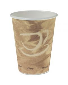 Mistique Polycoated Hot Paper Cup, 12 Oz, Printed, Brown, 50/sleeve, 20 Sleeves/carton