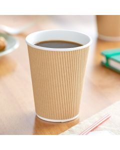 Choice 12 oz. Double Wall Ripple Kraft Paper Hot Cup - 500/Case