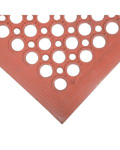 """Cactus Mat 2530-R5BX VIP TopDek Junior 3' x 5' Red Rubber Grease-Resistant Anti-Fatigue Floor Mat - 1/2"""" Thick"""