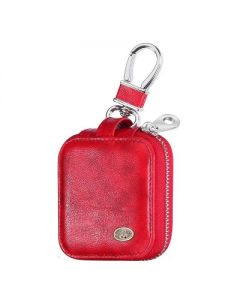 Valor Leather Full Protective Carrying Case w/ Hookups Compatible with Hookups Apple AirPods 1/2, Red