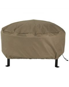 """Sunnydaze Outdoor Heavy-Duty Weather-Resistant PVC and 300D Polyester Round Fire Pit Cover with Drawstring Closure - 36"""" - Khaki"""