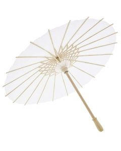 6 Pack White Paper Parasol Japanese Chinese Umbrella for Kids DIY Crafts Cocktail Party Decoration, Sun Parasols Photo Prop, 15.7 inches