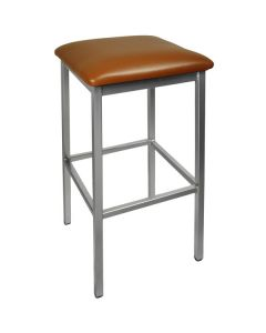 """BFM Seating 2510BLBV-CL Trent Clear Coated Steel Bar Stool with 2"""" Light Brown Vinyl Seat"""