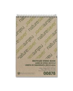 """Nature Saver Recycled Steno Book  60 Sheet   Gregg Ruled   6"""" x 9""""   1 Each   White Paper"""