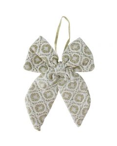 """Northlight 5.75"""" White and Gold Small Double Loop Bow Christmas Decor"""