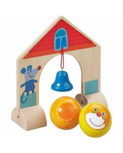 HABA Kullerbu Accessory Set - Arch with Bell - Includes 2 Wooden Kullerbu Balls