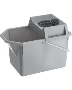 Rubbermaid FG619400STL 15 Qt. Gray Pail and Mop Strainer Combo