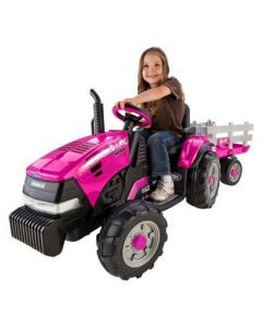 Peg Perego 12V Case IH Magnum Tractor with Trailer Powered Ride-On - Pink