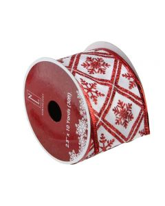 """Northlight Club Pack of 12 White and Red Snowflake Wired Christmas Craft Ribbon Spools 2.5"""" x 120 Yards"""