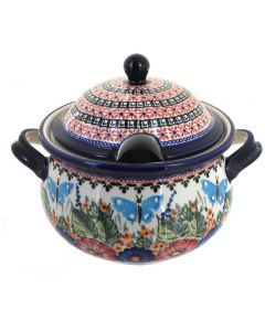 Blue Rose Polish Pottery Floral Butterfly Soup Tureen