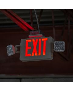 Lavex Industrial Remote Capable Red LED Exit Sign / Emergency Light Combo with Adjustable Arrows and Ni-Cad Battery Backup - 4.2 Watt Unit (2W Remote Capacity)