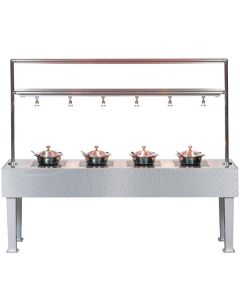 """Bon Chef 50117 96"""" x 24"""" x 78"""" Stainless Steel Table with 4 Induction Warmers - 110V"""