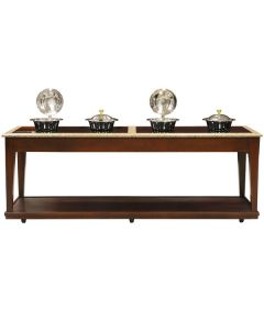 """Bon Chef 50121-1 96"""" x 34"""" x 36"""" Contemporary Wood Buffet with 4 Induction Ranges - 110V"""