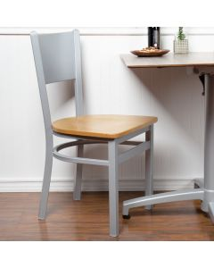 BFM Seating 2140CNTW-SM Axel Silver Mist Steel Side Chair with Natural Wood Seat