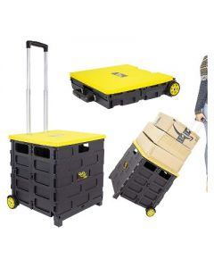 dbest products Quik Cart Pro 2 Wheeled Collapsible Handcart Dolly Storage Grocery Shopping Utility Cart with Lid, Seat, and Stool Functions, Yellow