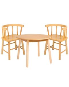 """Whitney Brothers WB0180 28"""" Round 21"""" High Wood Children's Table with 2 Bentwood Back Chairs"""