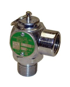 """All Points 56-1249 50 PSI Chrome Steam Safety Relief Valve - 1/2"""" NPT, 339 lb./Hour"""
