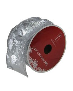 """Northlight Club Pack of 12 Silver Wired Christmas Words Craft Ribbon Spools 2.5"""" x 120 Yards Total"""