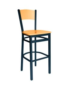 BFM Seating 2150BNTW-NTSB Dale Sand Black Metal Bar Height Chair with Natural Finish Wooden Back and Seat