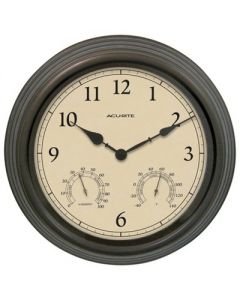 """15"""" Outdoor / Indoor Wall Clock with Thermometer and Humidity - Weathered Bronze Finish - Acurite"""